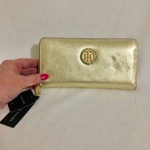 Tommy Hilfiger Gold Leather Zip Around Wallet